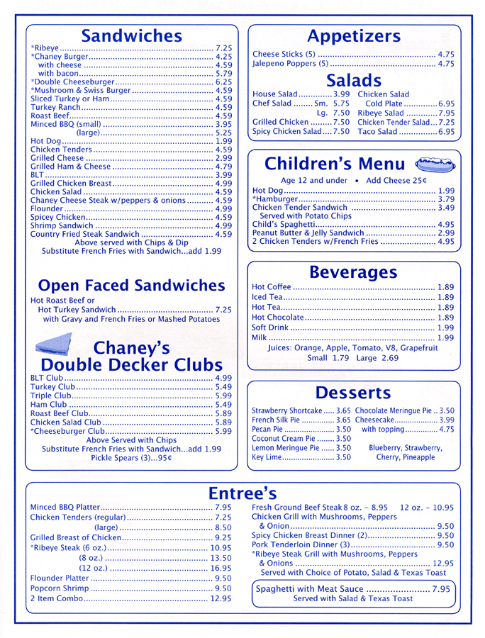 Chaney's Menu Page 2